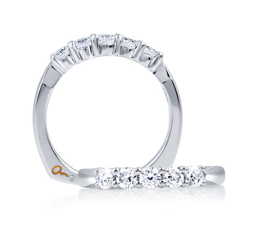 14K White Gold 5 Diamond Wedding Ring