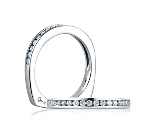 18K White Gold Channel-Set Diamond Wedding Ring