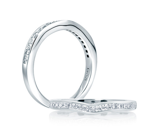 18K White Gold Contoured Anniversary Ring