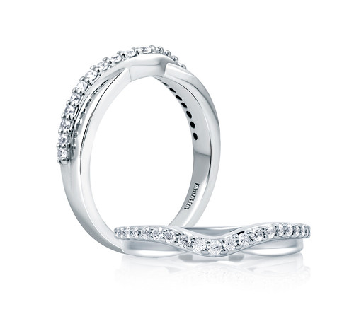 18K White Gold Contoured Double Stack Anniversary Ring