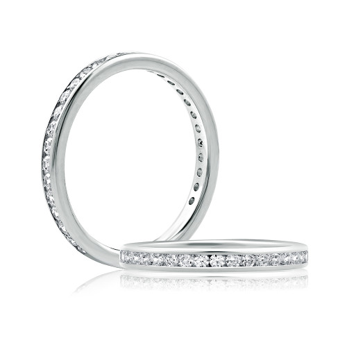 14K White Gold Channel-Set Diamond Eternity Ring