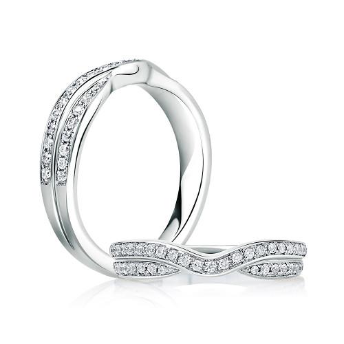 18K White Gold Contoured Double Stack Diamond Anniversary Ring
