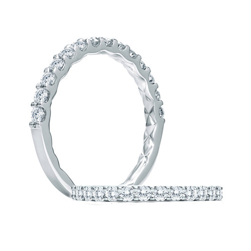 14K White Gold Shared Prong Diamond Wedding Ring