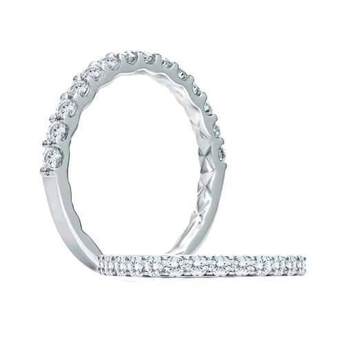 14K White Gold Shared Prong Diamond Wedding Ring