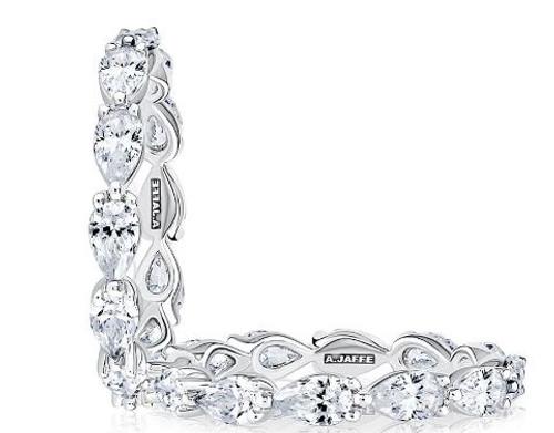 18K White Gold Pear Shaped Diamond Eternity Wedding Ring