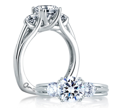 18K White Gold Three Stone Engagement Ring For 1.50ct Center Gemstone