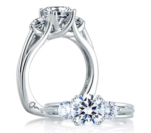 18K White Gold Three Stone Engagement Ring For 1.50ct Center Gemstone