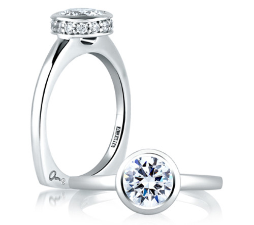 18K White Gold Bezel Set Engagement Ring For 1.25ct Center Gemstone