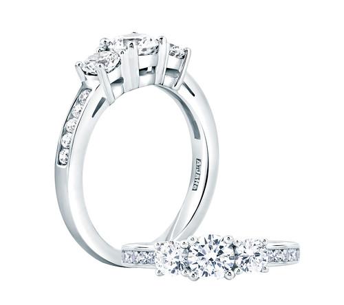18K White Gold Three Stone Anniversary Ring For 0.50ct Center Gemstone