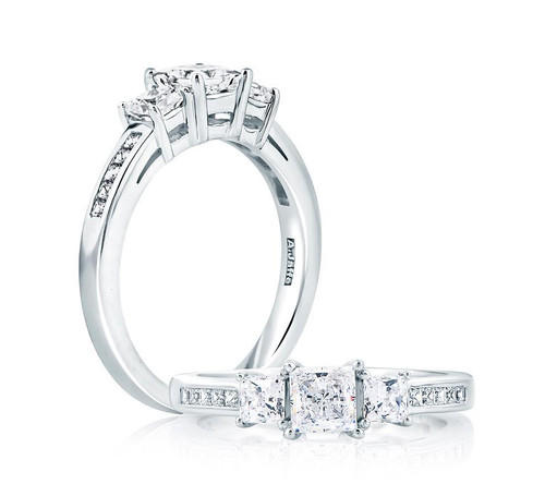18K White Gold Three Stone Anniversary Ring For 0.50ct Princess Cut Center Gemstone