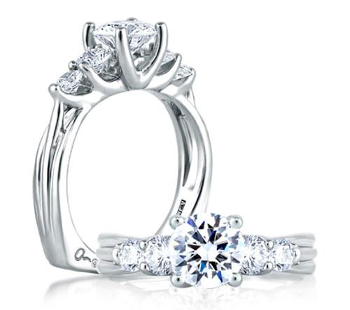 18K White Gold 5 Stone Engagement Ring For 1ct Center Gemstone