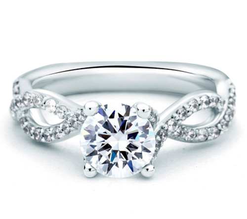 18K White Gold Criss Cross Engagement Ring For 1ct Center Gemstone