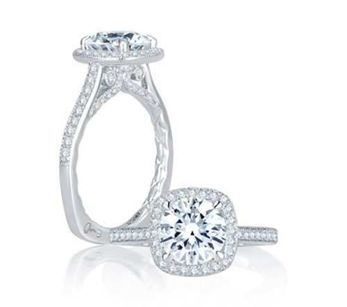18K White Gold Cushion Halo Engagement Ring For 1.50ct Center Gemstone