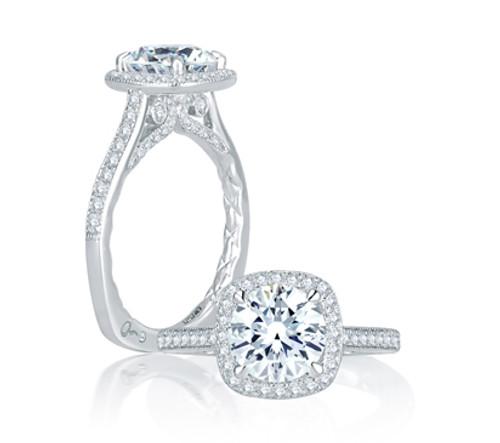 18K White Gold Cushion Halo Engagement Ring For 1.50ct Center Gemstone