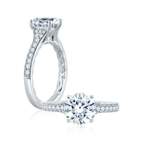 18K White Gold Diamond Solitaire Engagement Ring With Diamond Accents For 2ct Center Gemstone