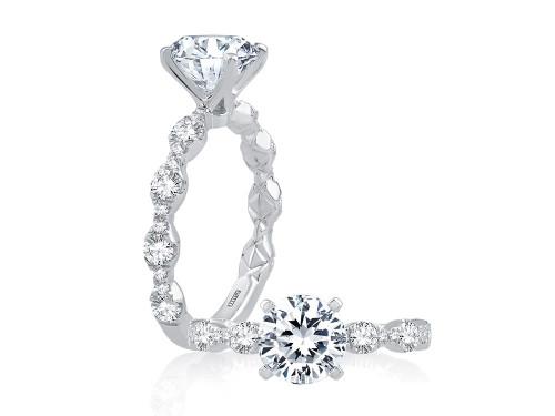 18K White Gold Diamond Bubble Engagement Ring For 1.50ct Center Gemstone