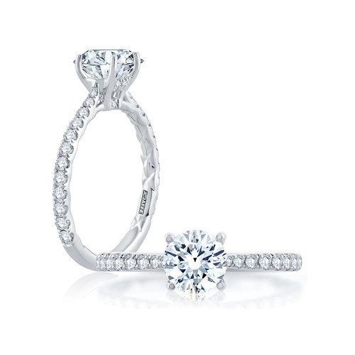 18K White Gold Pave Set Diamond Cathedral Engagement Ring For 1.25ct Center Gemstone