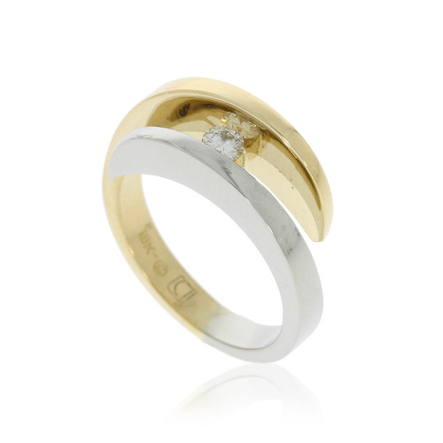 14K White and Yellow Gold Bypass Style Ring with a Round Diamond Center