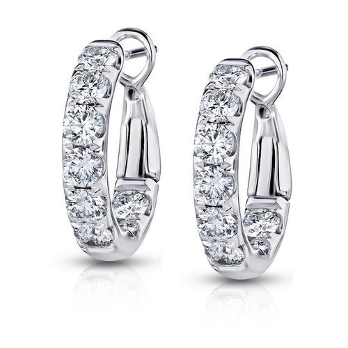 18K White Gold Diamond In and Out Hoop Earrings