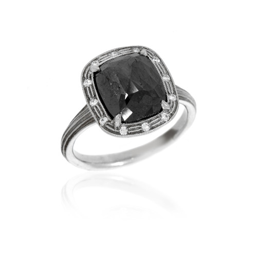 Palladium Rose-Cut Black Diamond Ring With Diamond Accents and Fern Finish Detail