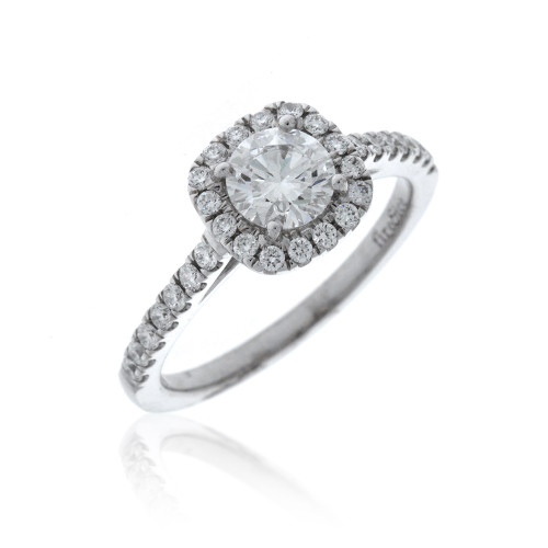 18K White Gold Fire & Ice Diamond Engagement Ring With Diamond Halo