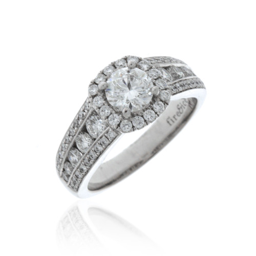 18K White Gold Fire & Ice Diamond Statement Engagement Ring With Diamond Halo