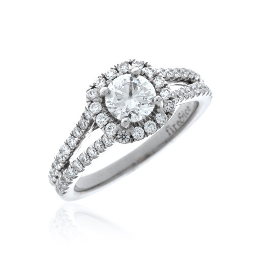 18K White Gold Fire & Ice Diamond Split Engagement Ring With Diamond Halo