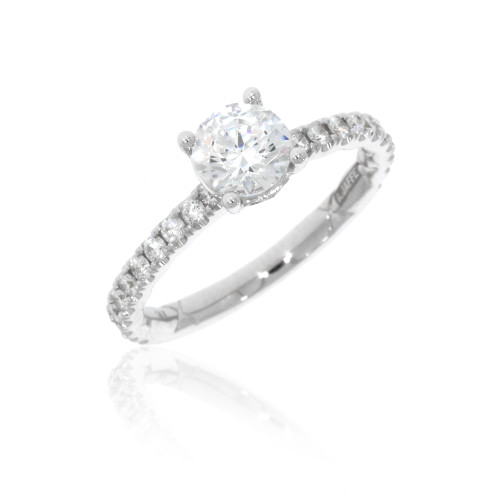 18K White Gold Solitaire Engagement Ring With Diamond Accents For 0.75ct Center Gemstone