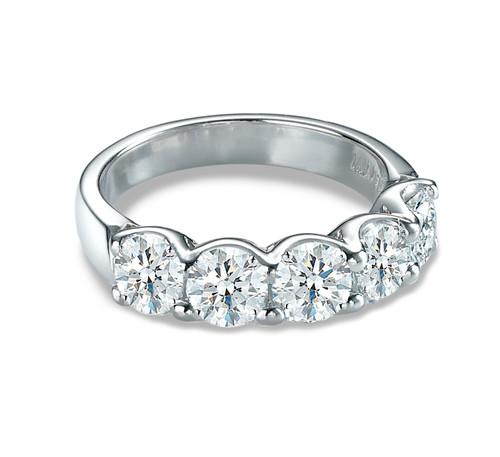 18K White Gold 5 Diamond Anniversary Ring
