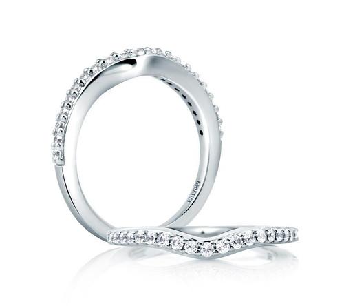 14K White Gold V Shaped Diamond Wedding Ring
