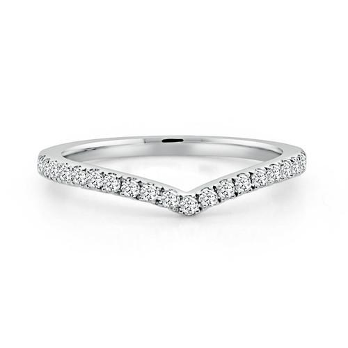 14K White Gold Contoured V Shaped Diamond Wedding Ring