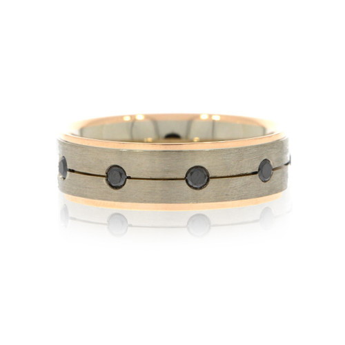 14K Two-Tone Gold Men's Wedding Ring With Black Diamond Accents