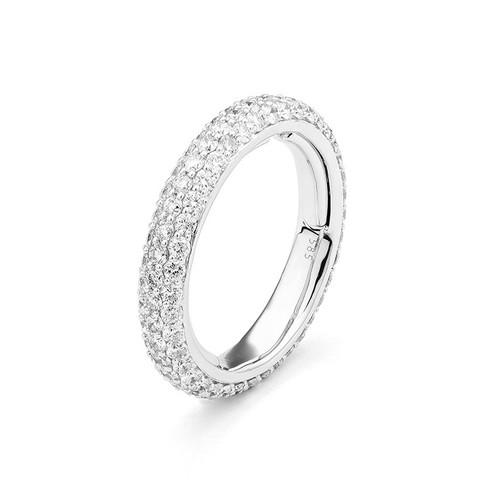 14K White Gold Adjustable Pave Set Diamond Wedding Ring