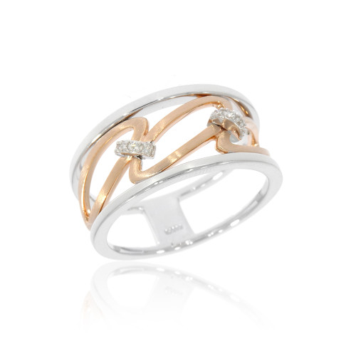 14K White and Rose Gold Link Ring With Diamond Accents