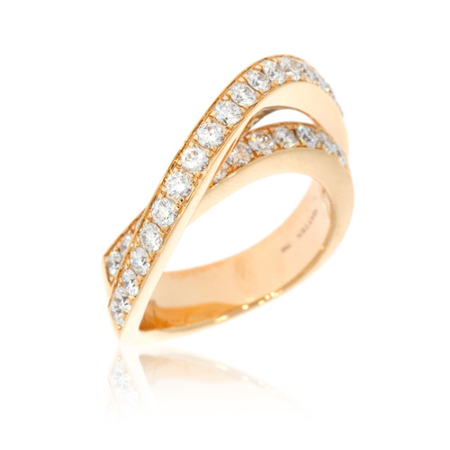 18K Rose Gold Double Curve Ring With Diamond Accents