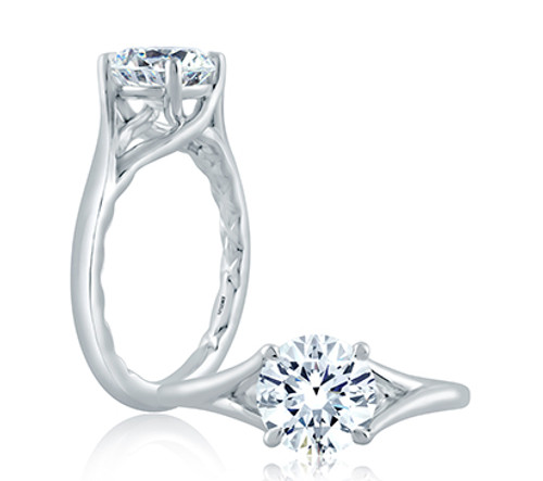 18K White Gold Solitaire Split Engagement Ring For 1.00ct Center Gemstone