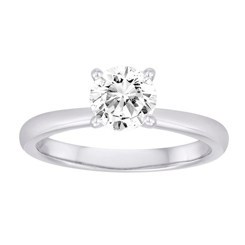 18K White Gold Solitaire Engagement Ring With Surprise Diamond Accents