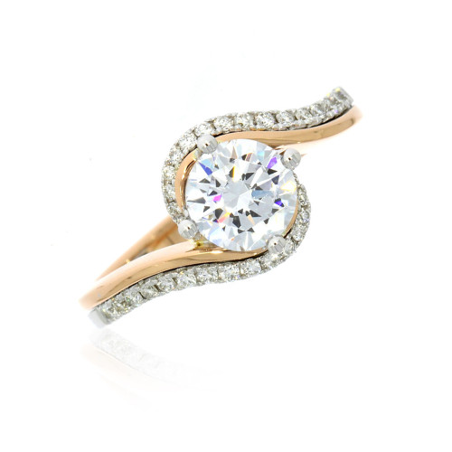 18K White and Rose Gold Twist Engagement Ring With Diamond Accents