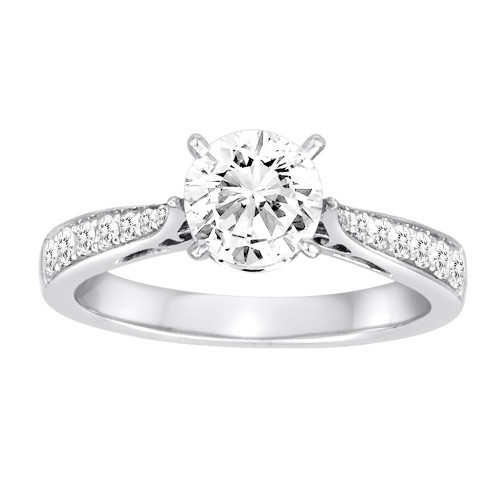 18K White Gold Solitaire Cathedral Engagement Ring With Diamond Accents