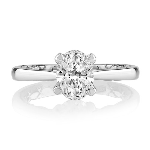 14K White Gold Solitaire Engagement Ring With Diamond Accents