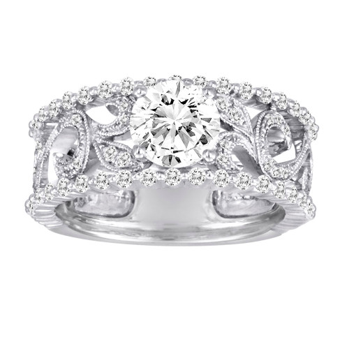 18K White Gold Diamond Engagement Ring With Filigree Details