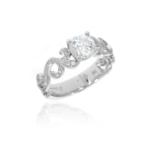 18K White Gold Diamond Engagement Ring With Filigree Band