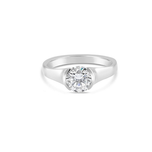 18K White Gold Solitaire Half Bezel Engagement Ring R379