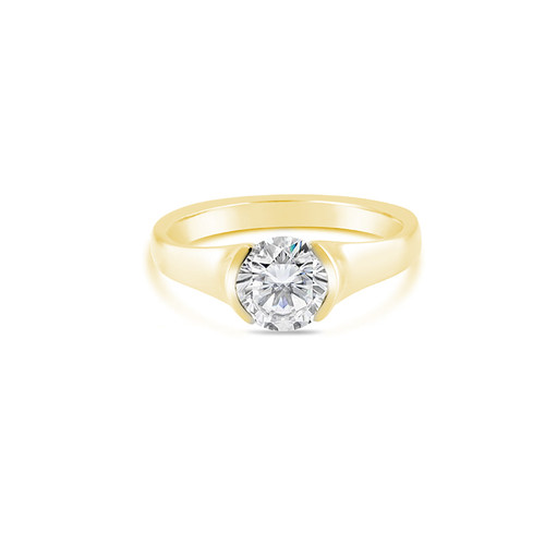 18K Yellow Gold Solitaire Half Bezel Engagement Ring