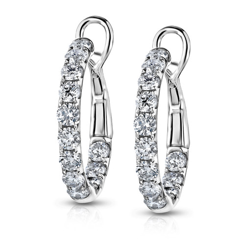 18K White Gold Diamond Large In and Out Hoop Earrings