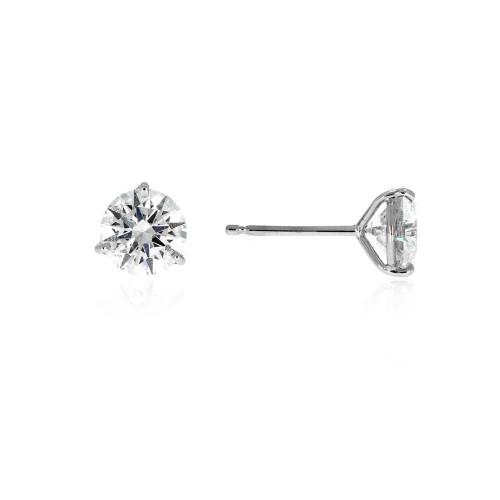 14K White Gold Diamond Solitaire Earrings - 0.66ctw
