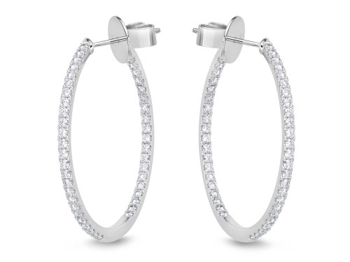 18K White Gold Thin In and Out Diamond Hoop Earrings