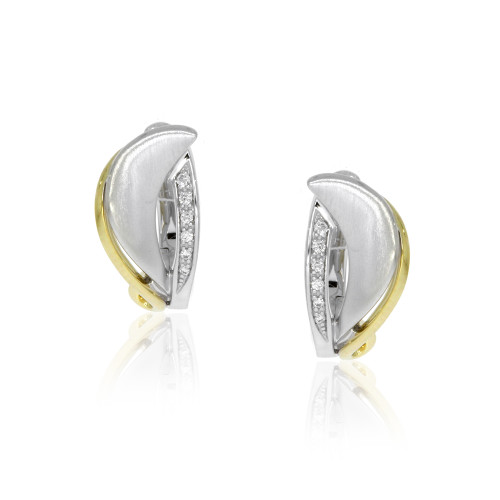 14K Yellow and White Gold Half Moon Huggie Earrings With Diamond Accents
