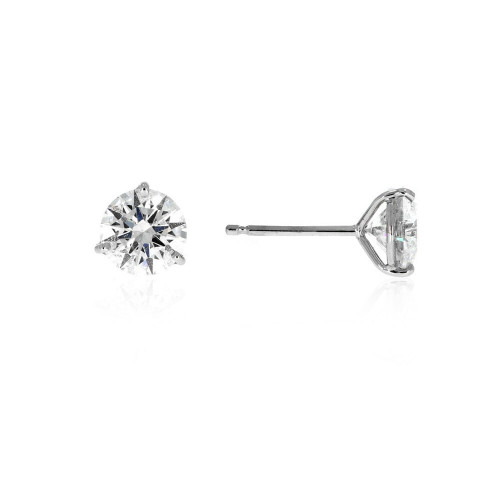 Platinum Diamond Solitaire Earrings - 0.76ctw