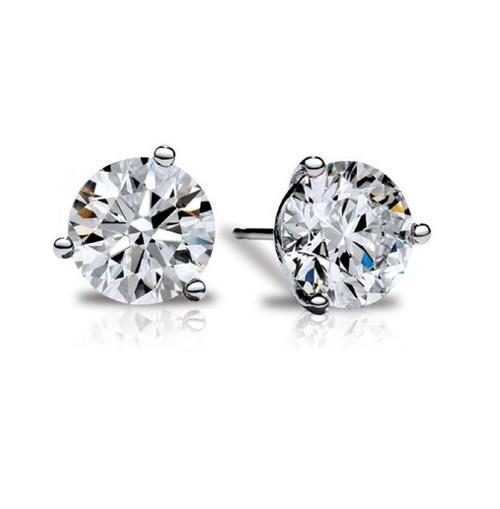 Platinum Fire & Ice Diamond Solitaire Earrings - 2.00ctw